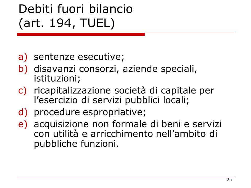 25 Debiti fuori bilancio (art. 194, TUEL) a)sentenze esecutive; b)disavanzi consorzi, aziende speciali, istituzioni; c)ricapitalizzazione società di c
