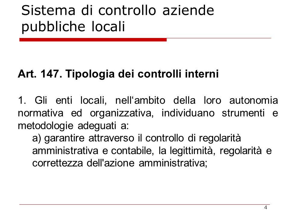 4 Sistema di controllo aziende pubbliche locali Art. 147. Tipologia dei controlli interni 1. Gli enti locali, nell'ambito della loro autonomia normati