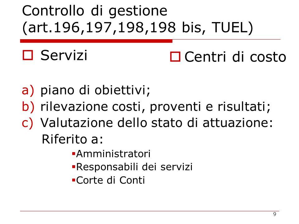 9 Controllo di gestione (art.196,197,198,198 bis, TUEL)  Servizi a)piano di obiettivi; b)rilevazione costi, proventi e risultati; c)Valutazione dello