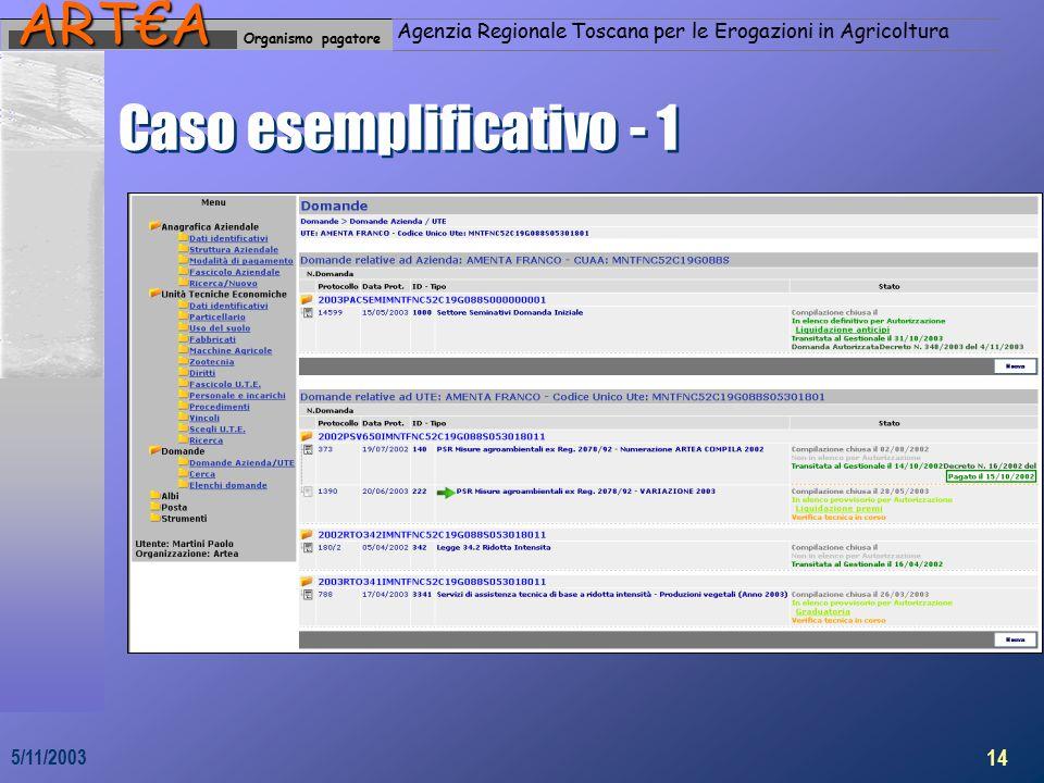 Organismo pagatoreART€A Agenzia Regionale Toscana per le Erogazioni in Agricoltura 14 5/11/2003 Caso esemplificativo - 1