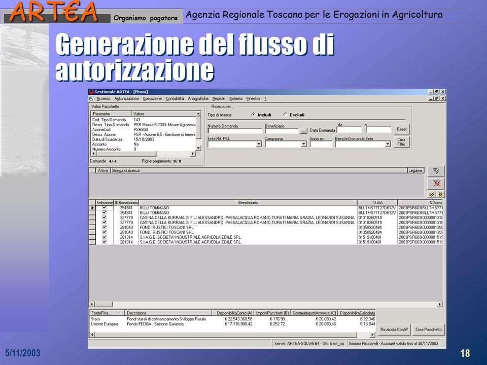 Organismo pagatoreART€A Agenzia Regionale Toscana per le Erogazioni in Agricoltura 18 5/11/2003 Generazione del flusso di autorizzazione