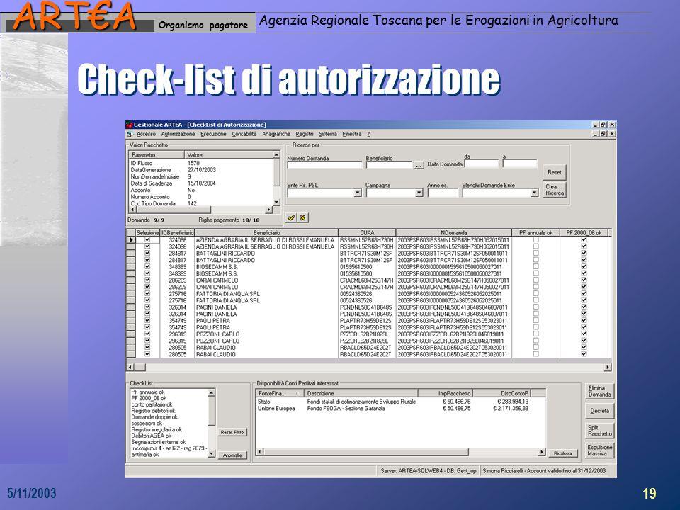 Organismo pagatoreART€A Agenzia Regionale Toscana per le Erogazioni in Agricoltura 19 5/11/2003 Check-list di autorizzazione