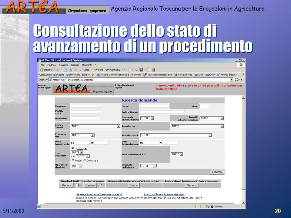 Organismo pagatoreART€A Agenzia Regionale Toscana per le Erogazioni in Agricoltura 20 5/11/2003 Consultazione dello stato di avanzamento di un procedimento