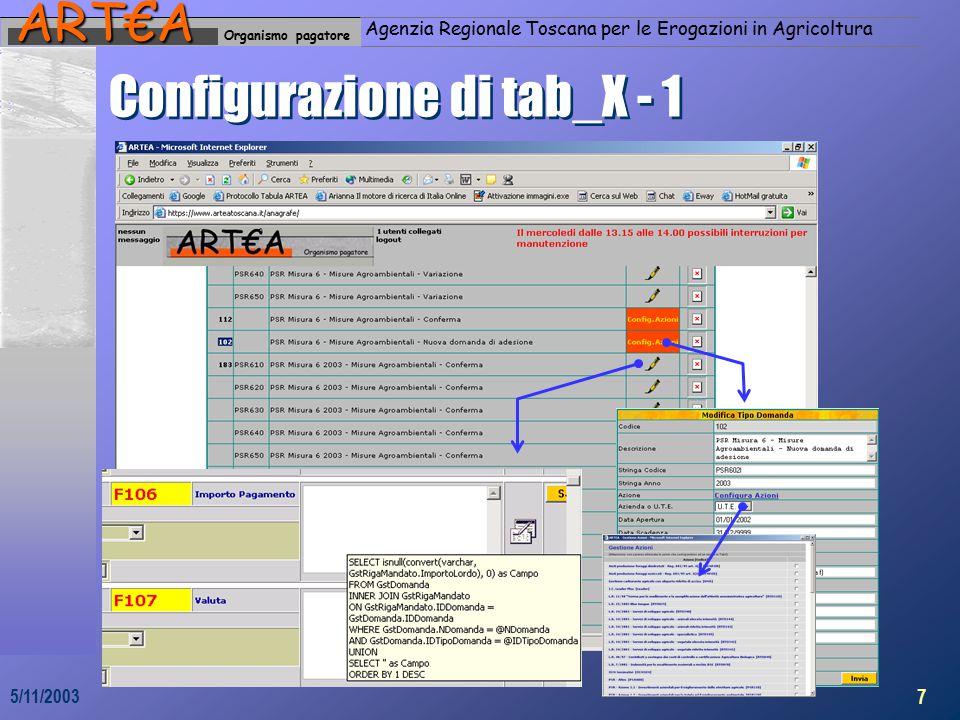 Organismo pagatoreART€A Agenzia Regionale Toscana per le Erogazioni in Agricoltura 7 5/11/2003 Configurazione di tab_X - 1