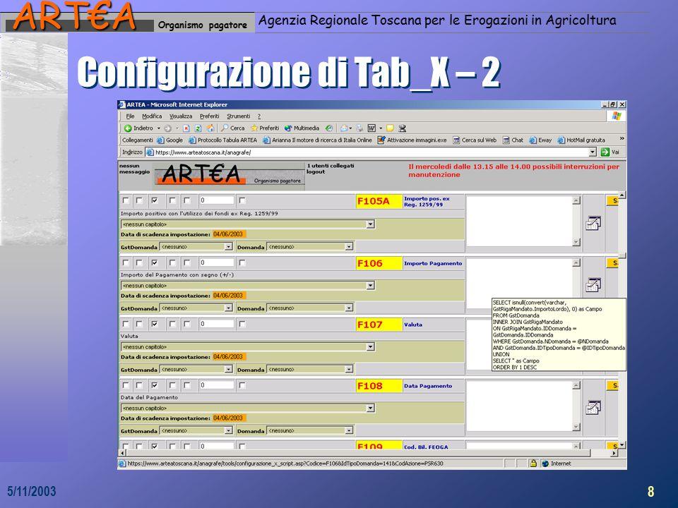 Organismo pagatoreART€A Agenzia Regionale Toscana per le Erogazioni in Agricoltura 8 5/11/2003 Configurazione di Tab_X – 2