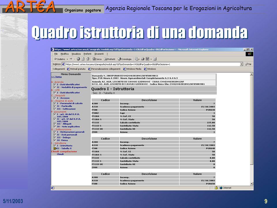 Organismo pagatoreART€A Agenzia Regionale Toscana per le Erogazioni in Agricoltura 9 5/11/2003 Quadro istruttoria di una domanda
