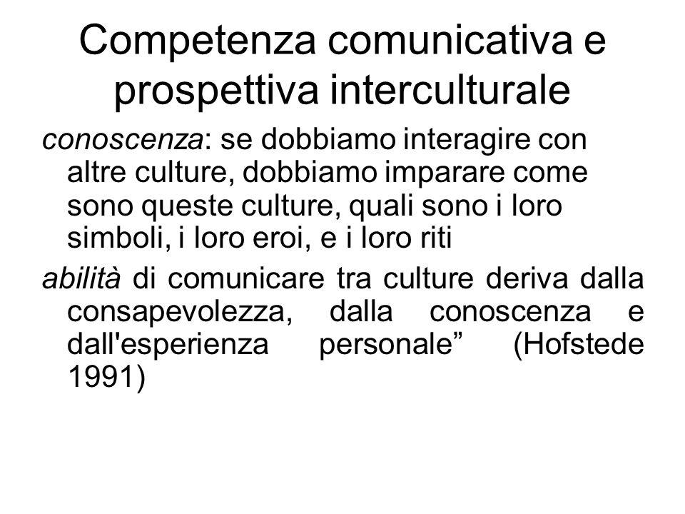 Competenza comunicativa e prospettiva interculturale conoscenza: se dobbiamo interagire con altre culture, dobbiamo imparare come sono queste culture, quali sono i loro simboli, i loro eroi, e i loro riti abilità di comunicare tra culture deriva dalla consapevolezza, dalla conoscenza e dall esperienza personale (Hofstede 1991)