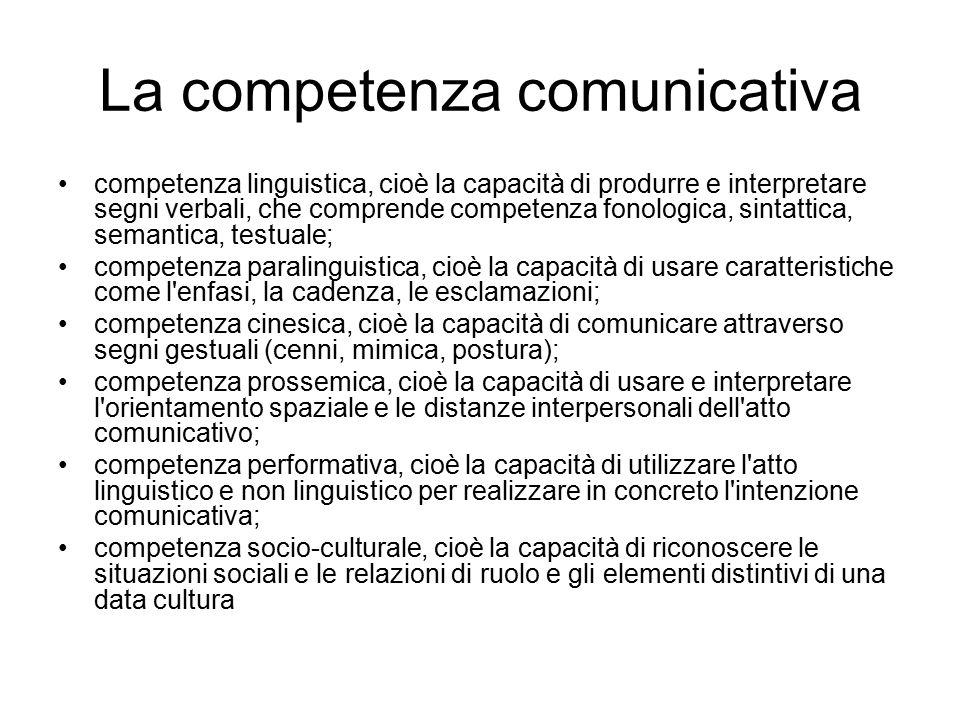 La competenza comunicativa competenza linguistica, cioè la capacità di produrre e interpretare segni verbali, che comprende competenza fonologica, sintattica, semantica, testuale; competenza paralinguistica, cioè la capacità di usare caratteristiche come l enfasi, la cadenza, le esclamazioni; competenza cinesica, cioè la capacità di comunicare attraverso segni gestuali (cenni, mimica, postura); competenza prossemica, cioè la capacità di usare e interpretare l orientamento spaziale e le distanze interpersonali dell atto comunicativo; competenza performativa, cioè la capacità di utilizzare l atto linguistico e non linguistico per realizzare in concreto l intenzione comunicativa; competenza socio-culturale, cioè la capacità di riconoscere le situazioni sociali e le relazioni di ruolo e gli elementi distintivi di una data cultura