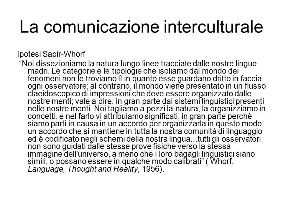 La comunicazione interculturale Ipotesi Sapir-Whorf Noi dissezioniamo la natura lungo linee tracciate dalle nostre lingue madri.