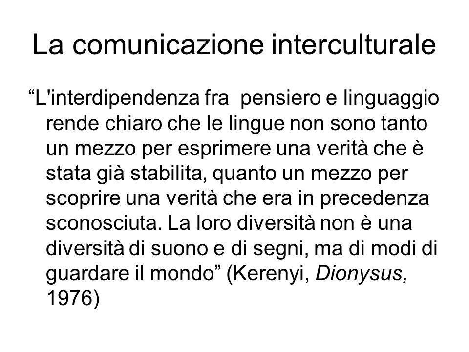 La comunicazione interculturale L interdipendenza fra pensiero e linguaggio rende chiaro che le lingue non sono tanto un mezzo per esprimere una verità che è stata già stabilita, quanto un mezzo per scoprire una verità che era in precedenza sconosciuta.