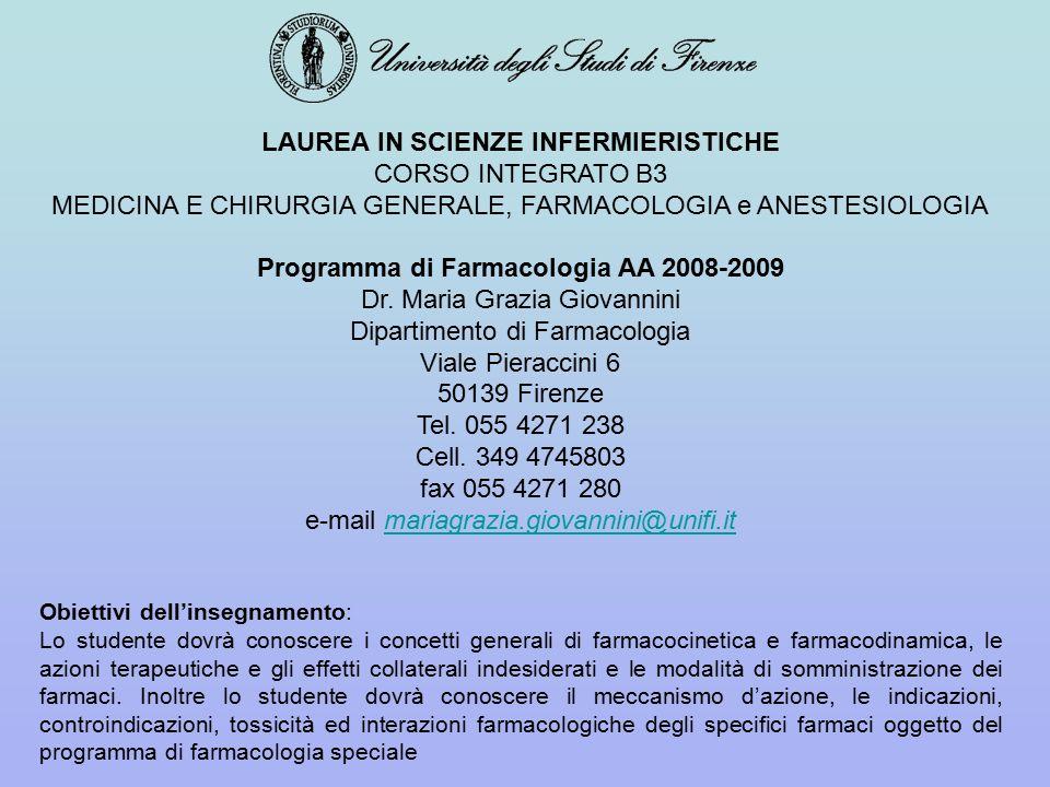 LAUREA IN SCIENZE INFERMIERISTICHE CORSO INTEGRATO B3 MEDICINA E CHIRURGIA GENERALE, FARMACOLOGIA e ANESTESIOLOGIA Programma di Farmacologia AA 2008-2009 Dr.