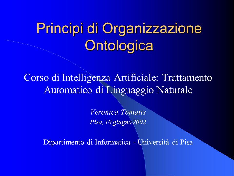Veronica Tomatis,10 Giugno 20022 Overview Definizione del concetto di ontologia (e motivazioni) – Filosofica – Informatica – Un esempio concreto: Yahoo.