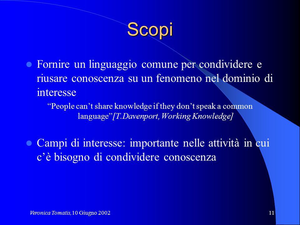 """Veronica Tomatis,10 Giugno 200211 Scopi Fornire un linguaggio comune per condividere e riusare conoscenza su un fenomeno nel dominio di interesse """"Peo"""