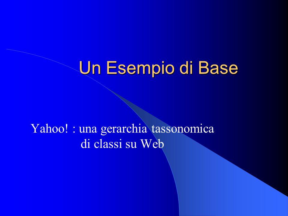Un Esempio di Base Yahoo! : una gerarchia tassonomica di classi su Web