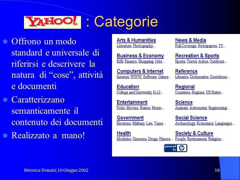 """Veronica Tomatis,10 Giugno 200216 : Categorie Offrono un modo standard e universale di riferirsi e descrivere la natura di """"cose"""", attività e document"""