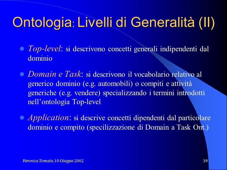 Veronica Tomatis,10 Giugno 200239 Ontologia : Livelli di Generalità (II) Top-level: si descrivono concetti generali indipendenti dal dominio Domain e