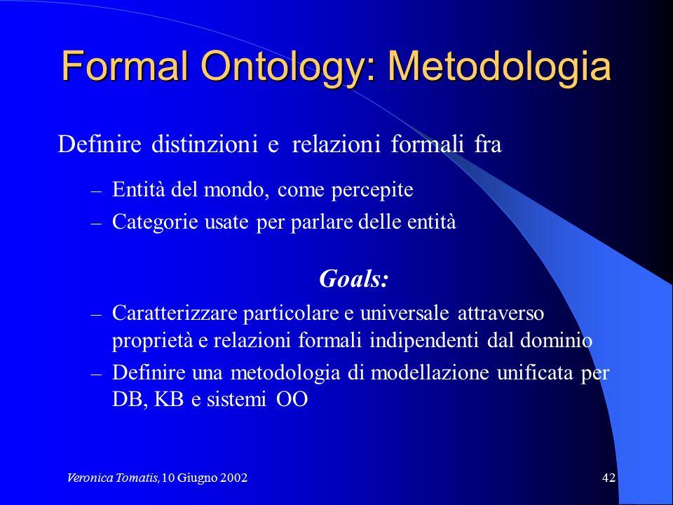 Veronica Tomatis,10 Giugno 200242 Formal Ontology: Metodologia Definire distinzioni e relazioni formali fra – Entità del mondo, come percepite – Categ