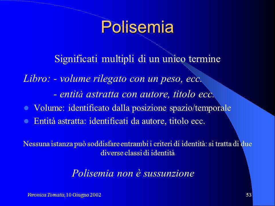 Veronica Tomatis,10 Giugno 200253 Polisemia Significati multipli di un unico termine Libro: - volume rilegato con un peso, ecc. - entit à astratta con