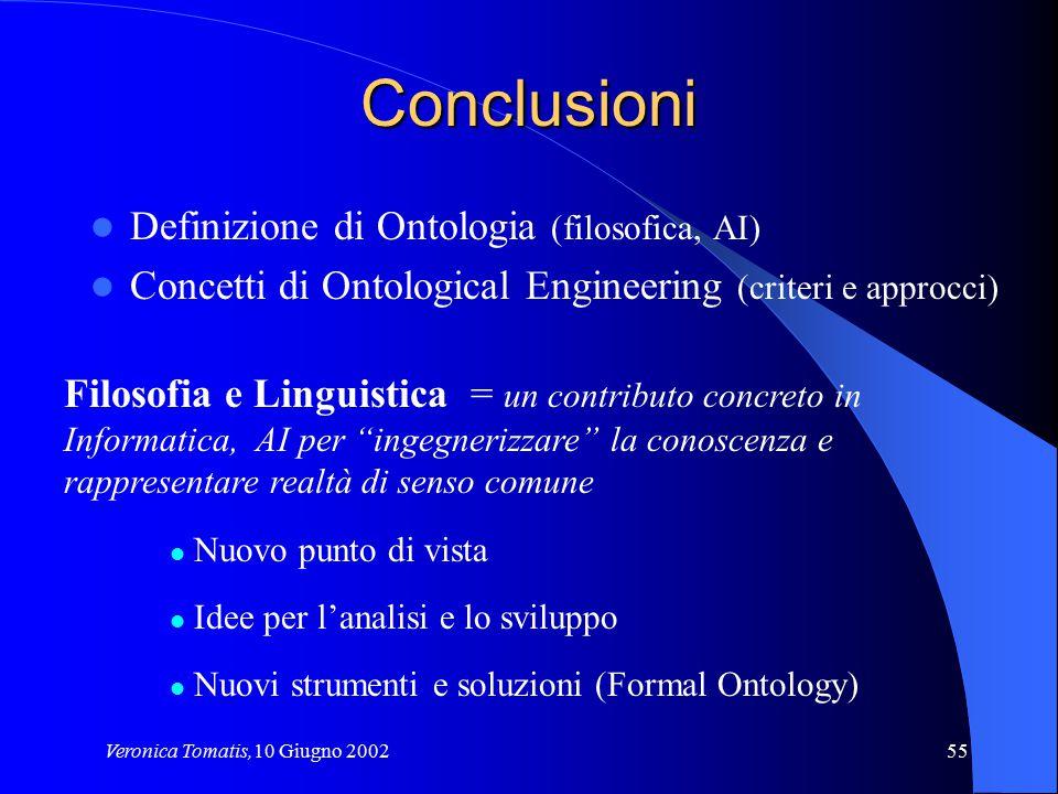 Veronica Tomatis,10 Giugno 200255 Conclusioni Definizione di Ontologia (filosofica, AI) Concetti di Ontological Engineering (criteri e approcci) Filos
