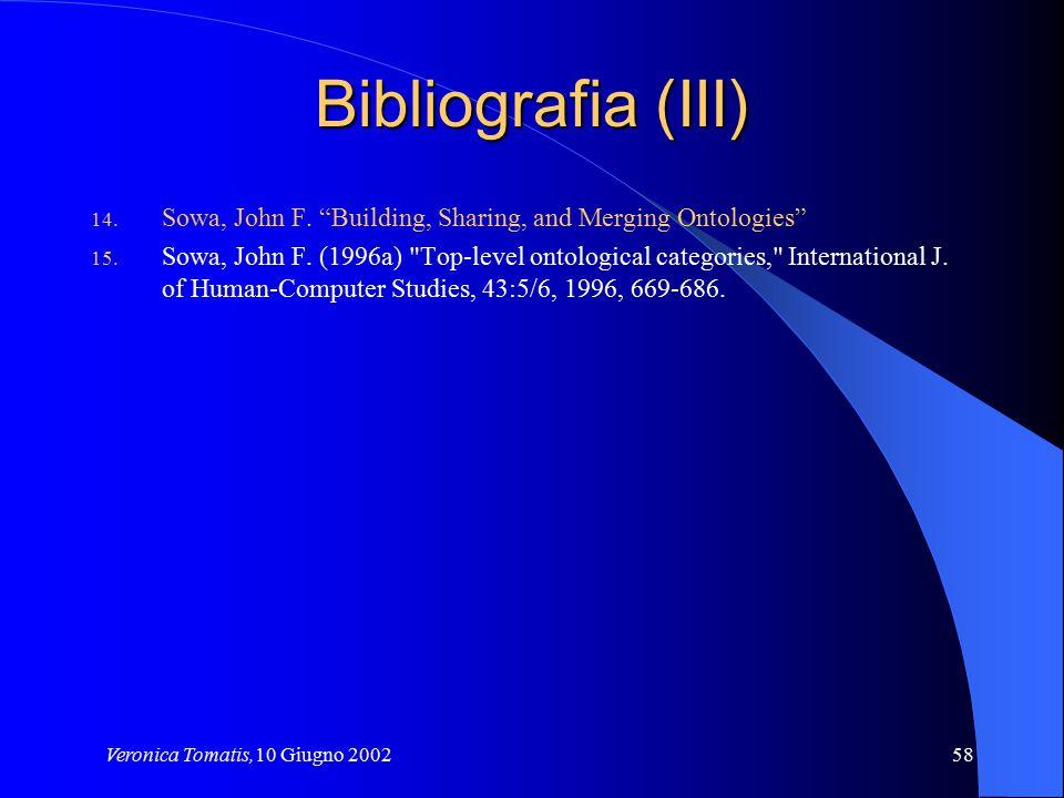 "Veronica Tomatis,10 Giugno 200258 Bibliografia (III) 14. Sowa, John F. ""Building, Sharing, and Merging Ontologies"" 15. Sowa, John F. (1996a)"