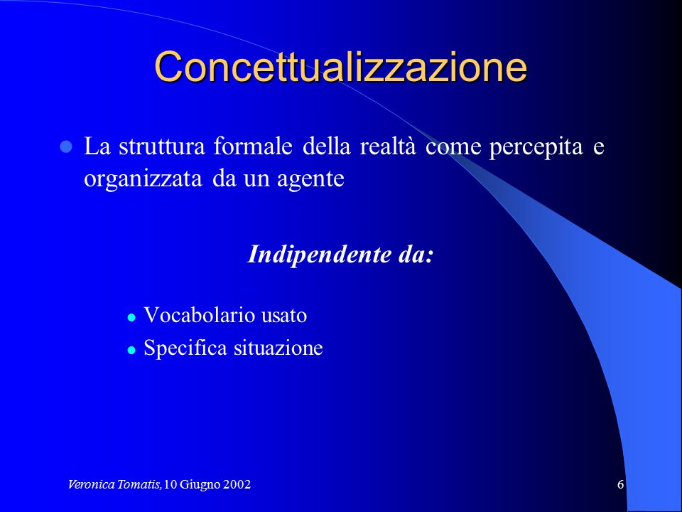 Veronica Tomatis,10 Giugno 20026 Concettualizzazione La struttura formale della realtà come percepita e organizzata da un agente Indipendente da: Voca