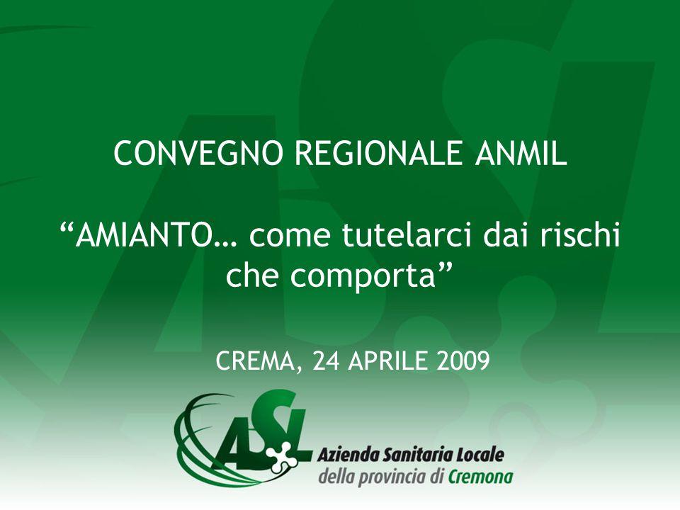 CONVEGNO REGIONALE ANMIL AMIANTO… come tutelarci dai rischi che comporta CREMA, 24 APRILE 2009