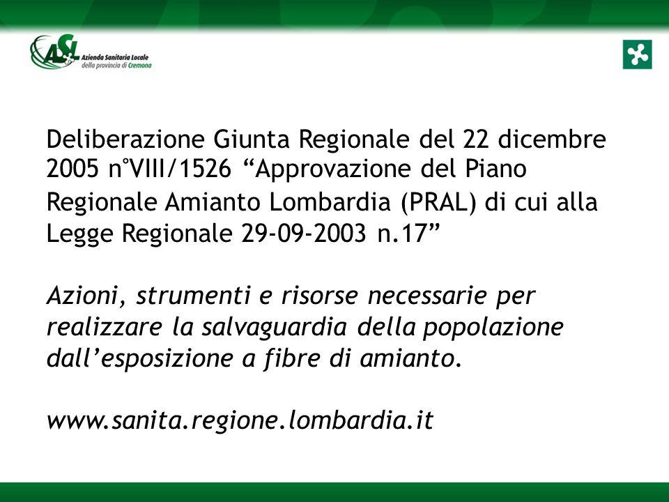 Deliberazione Giunta Regionale del 22 dicembre 2005 n°VIII/1526 Approvazione del Piano Regionale Amianto Lombardia (PRAL) di cui alla Legge Regionale 29-09-2003 n.17 Azioni, strumenti e risorse necessarie per realizzare la salvaguardia della popolazione dall'esposizione a fibre di amianto.
