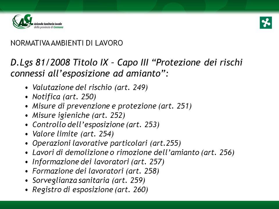 NORMATIVA AMBIENTI DI LAVORO D.Lgs 81/2008 Titolo IX – Capo III Protezione dei rischi connessi all'esposizione ad amianto : Valutazione del rischio (art.