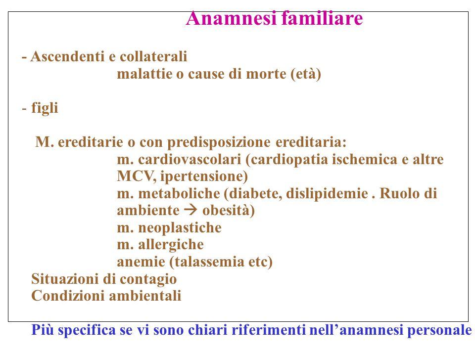ESAME OBIETTIVO Condizioni cliniche di più frequente riscontro Cardiopalmo (tachicardie/aritmie)