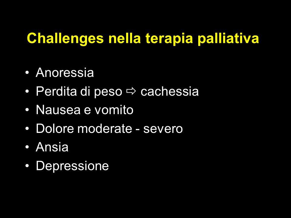 Challenges nella terapia palliativa Anoressia Perdita di peso  cachessia Nausea e vomito Dolore moderate - severo Ansia Depressione