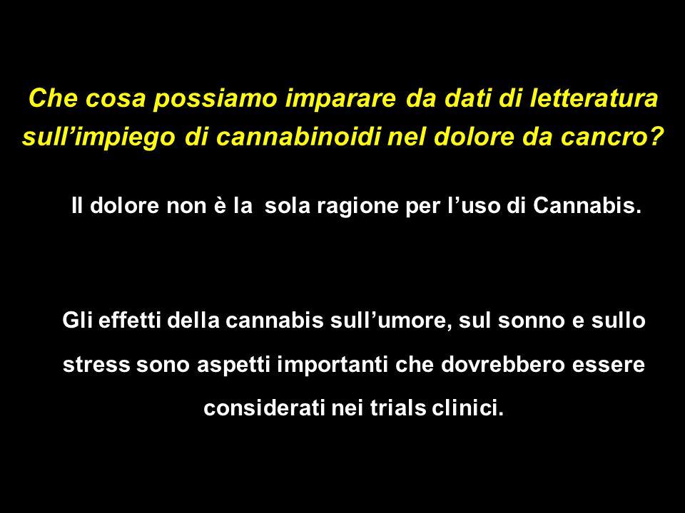 Che cosa possiamo imparare da dati di letteratura sull'impiego di cannabinoidi nel dolore da cancro.