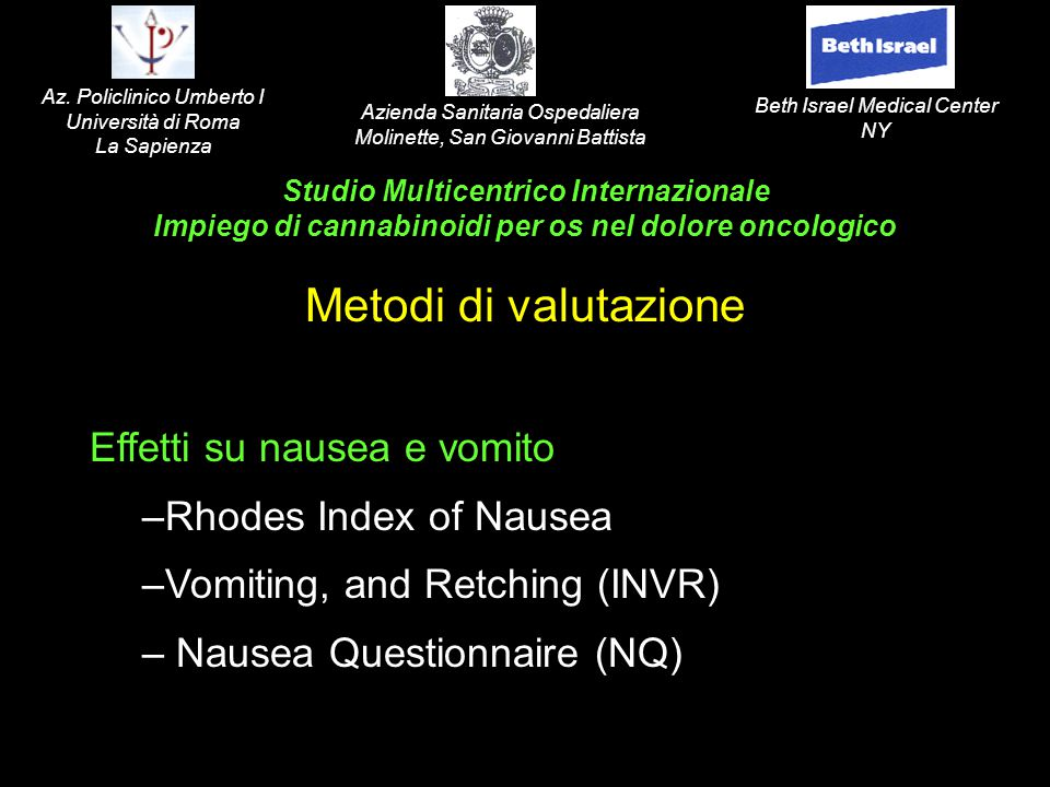 Effetti su nausea e vomito –Rhodes Index of Nausea –Vomiting, and Retching (INVR) – Nausea Questionnaire (NQ) Studio Multicentrico Internazionale Impi