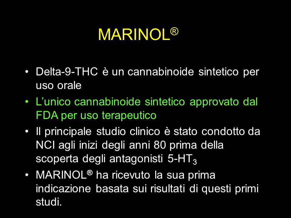MARINOL ® Delta-9-THC è un cannabinoide sintetico per uso orale L'unico cannabinoide sintetico approvato dal FDA per uso terapeutico Il principale studio clinico è stato condotto da NCI agli inizi degli anni 80 prima della scoperta degli antagonisti 5-HT 3 MARINOL ® ha ricevuto la sua prima indicazione basata sui risultati di questi primi studi.