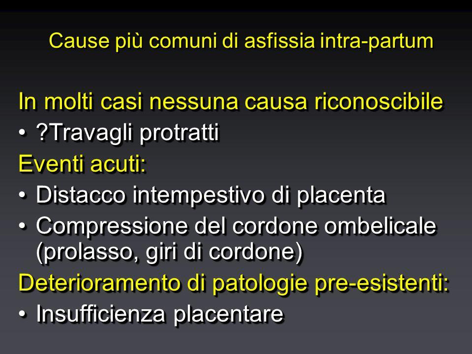 Cause più comuni di asfissia intra-partum In molti casi nessuna causa riconoscibile Travagli protratti Travagli protratti Eventi acuti: Distacco intempestivo di placentaDistacco intempestivo di placenta Compressione del cordone ombelicale (prolasso, giri di cordone)Compressione del cordone ombelicale (prolasso, giri di cordone) Deterioramento di patologie pre-esistenti: Insufficienza placentareInsufficienza placentare In molti casi nessuna causa riconoscibile Travagli protratti Travagli protratti Eventi acuti: Distacco intempestivo di placentaDistacco intempestivo di placenta Compressione del cordone ombelicale (prolasso, giri di cordone)Compressione del cordone ombelicale (prolasso, giri di cordone) Deterioramento di patologie pre-esistenti: Insufficienza placentareInsufficienza placentare