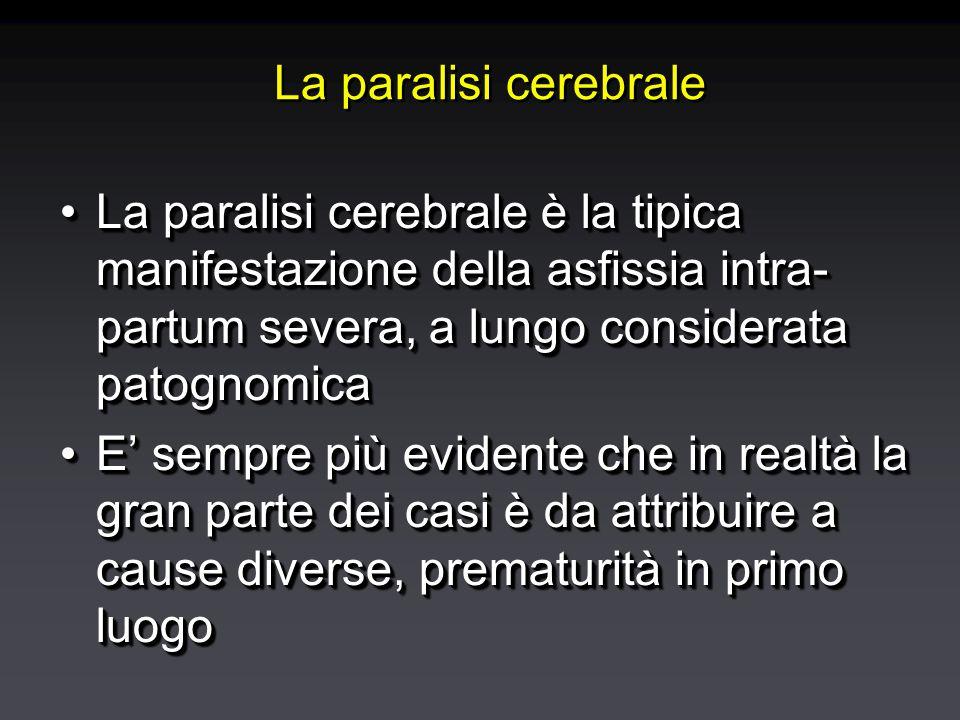 La paralisi cerebrale La paralisi cerebrale è la tipica manifestazione della asfissia intra- partum severa, a lungo considerata patognomicaLa paralisi cerebrale è la tipica manifestazione della asfissia intra- partum severa, a lungo considerata patognomica E' sempre più evidente che in realtà la gran parte dei casi è da attribuire a cause diverse, prematurità in primo luogoE' sempre più evidente che in realtà la gran parte dei casi è da attribuire a cause diverse, prematurità in primo luogo La paralisi cerebrale è la tipica manifestazione della asfissia intra- partum severa, a lungo considerata patognomicaLa paralisi cerebrale è la tipica manifestazione della asfissia intra- partum severa, a lungo considerata patognomica E' sempre più evidente che in realtà la gran parte dei casi è da attribuire a cause diverse, prematurità in primo luogoE' sempre più evidente che in realtà la gran parte dei casi è da attribuire a cause diverse, prematurità in primo luogo