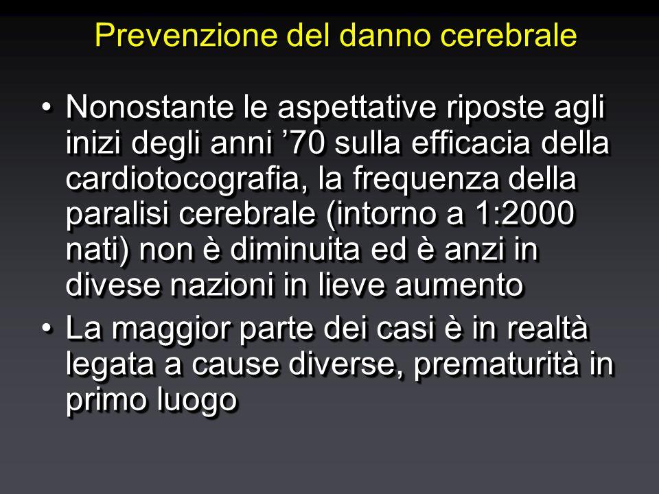 Prevenzione del danno cerebrale Nonostante le aspettative riposte agli inizi degli anni '70 sulla efficacia della cardiotocografia, la frequenza della paralisi cerebrale (intorno a 1:2000 nati) non è diminuita ed è anzi in divese nazioni in lieve aumentoNonostante le aspettative riposte agli inizi degli anni '70 sulla efficacia della cardiotocografia, la frequenza della paralisi cerebrale (intorno a 1:2000 nati) non è diminuita ed è anzi in divese nazioni in lieve aumento La maggior parte dei casi è in realtà legata a cause diverse, prematurità in primo luogoLa maggior parte dei casi è in realtà legata a cause diverse, prematurità in primo luogo Nonostante le aspettative riposte agli inizi degli anni '70 sulla efficacia della cardiotocografia, la frequenza della paralisi cerebrale (intorno a 1:2000 nati) non è diminuita ed è anzi in divese nazioni in lieve aumentoNonostante le aspettative riposte agli inizi degli anni '70 sulla efficacia della cardiotocografia, la frequenza della paralisi cerebrale (intorno a 1:2000 nati) non è diminuita ed è anzi in divese nazioni in lieve aumento La maggior parte dei casi è in realtà legata a cause diverse, prematurità in primo luogoLa maggior parte dei casi è in realtà legata a cause diverse, prematurità in primo luogo