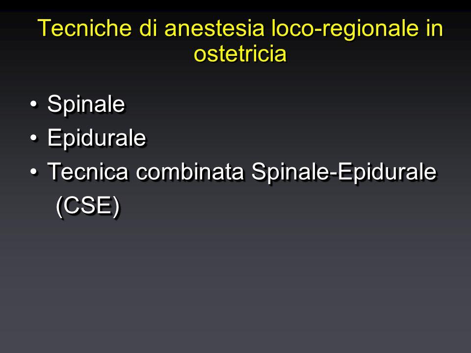 Anestesia spinale L2 Iniezione di anestetico nello spazio liquorale al di sotto del cono medullare Garantisce una anestesia rapida ed efficace privilegiata per interventi pelvici di rapida durata (taglio cesareo)