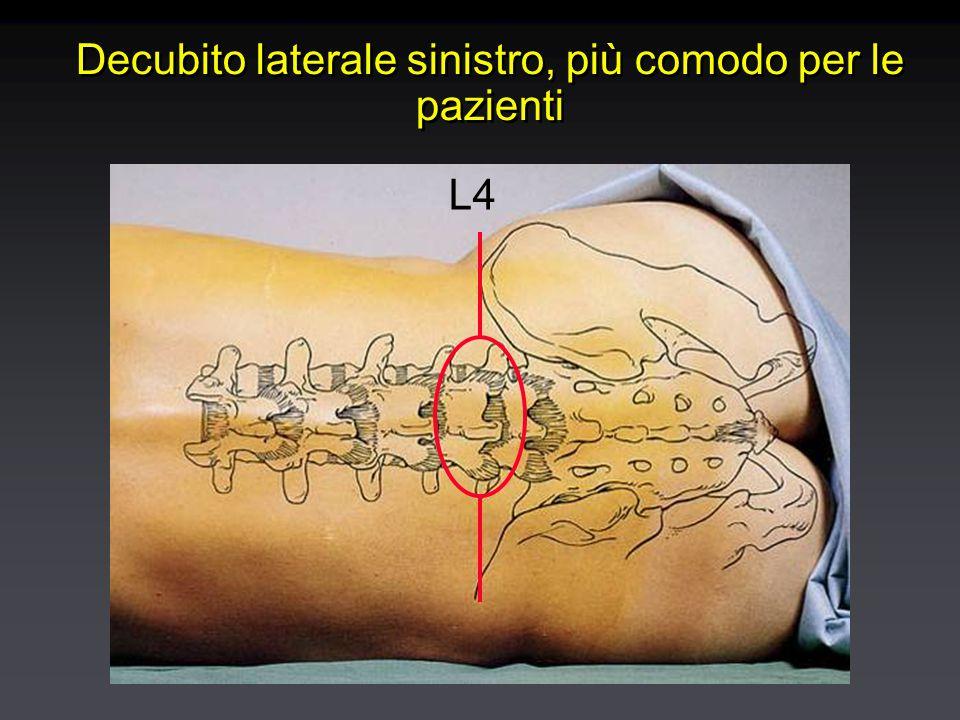 Decubito laterale sinistro, più comodo per le pazienti L4
