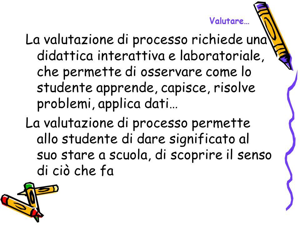 Valutare… La valutazione di processo richiede una didattica interattiva e laboratoriale, che permette di osservare come lo studente apprende, capisce,