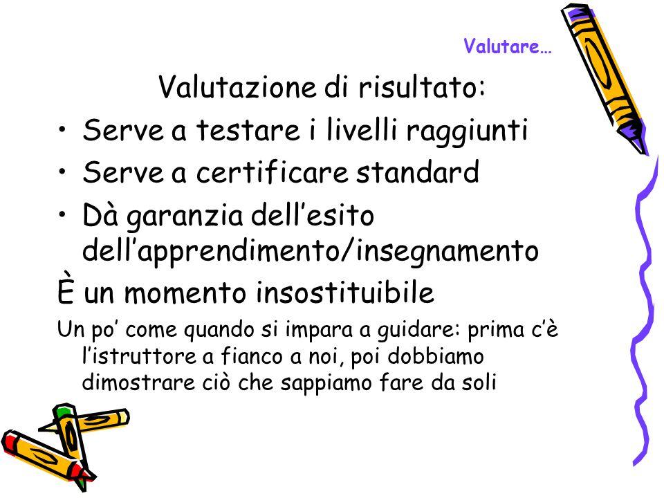 Valutare… Valutazione di risultato: Serve a testare i livelli raggiunti Serve a certificare standard Dà garanzia dell'esito dell'apprendimento/insegna