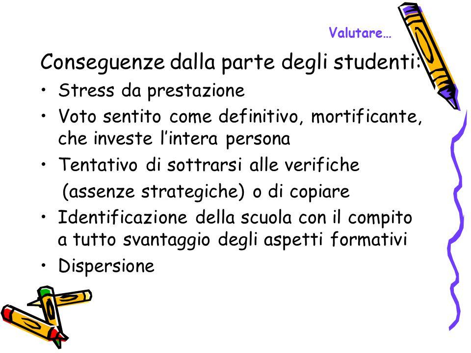 Valutare… Conseguenze dalla parte degli studenti: Stress da prestazione Voto sentito come definitivo, mortificante, che investe l'intera persona Tenta