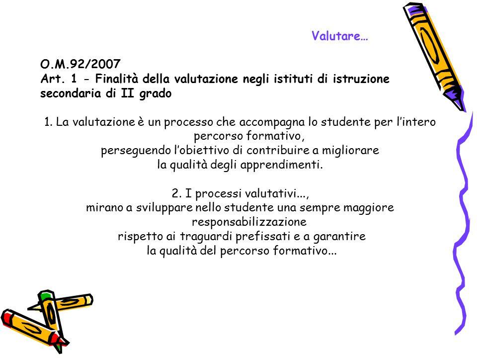 Valutare… O.M.92/2007 Art. 1 - Finalità della valutazione negli istituti di istruzione secondaria di II grado 1. La valutazione è un processo che acco