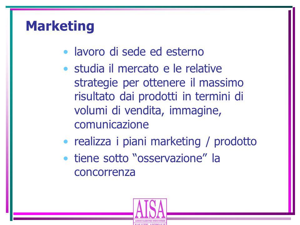 Marketing lavoro di sede ed esterno studia il mercato e le relative strategie per ottenere il massimo risultato dai prodotti in termini di volumi di v