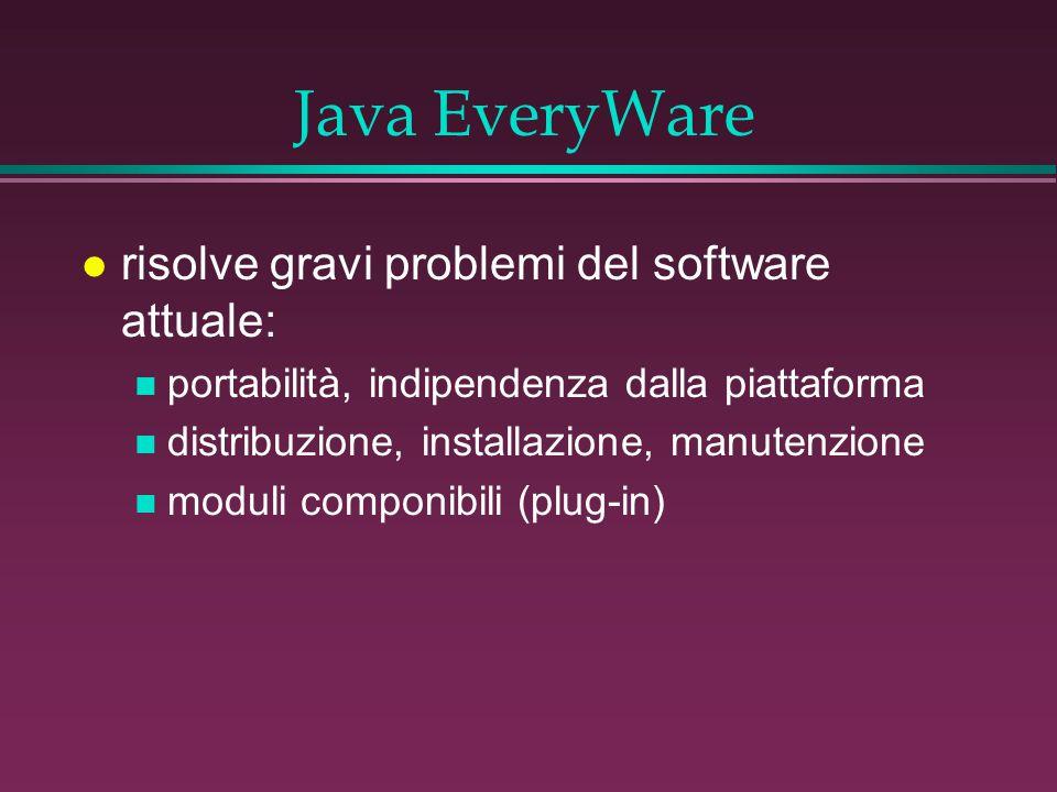 Java EveryWare l risolve gravi problemi del software attuale: n portabilità, indipendenza dalla piattaforma n distribuzione, installazione, manutenzione n moduli componibili (plug-in)