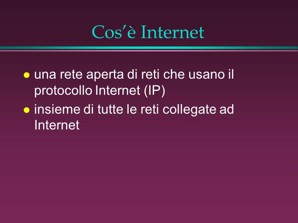 Cos'è Internet l una rete aperta di reti che usano il protocollo Internet (IP) l insieme di tutte le reti collegate ad Internet