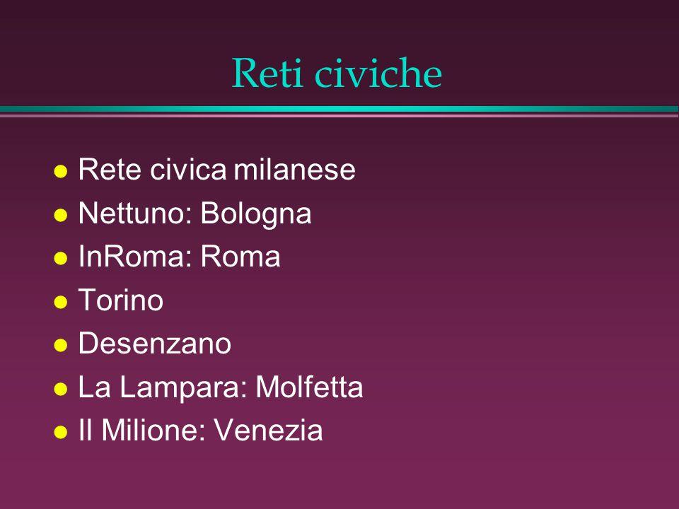 Reti civiche l Rete civica milanese l Nettuno: Bologna l InRoma: Roma l Torino l Desenzano l La Lampara: Molfetta l Il Milione: Venezia