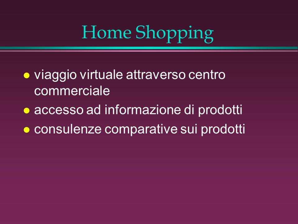 Home Shopping l viaggio virtuale attraverso centro commerciale l accesso ad informazione di prodotti l consulenze comparative sui prodotti