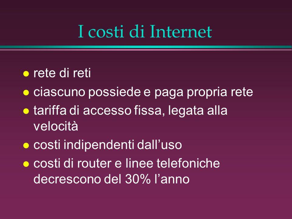 I costi di Internet l rete di reti l ciascuno possiede e paga propria rete l tariffa di accesso fissa, legata alla velocità l costi indipendenti dall'uso l costi di router e linee telefoniche decrescono del 30% l'anno