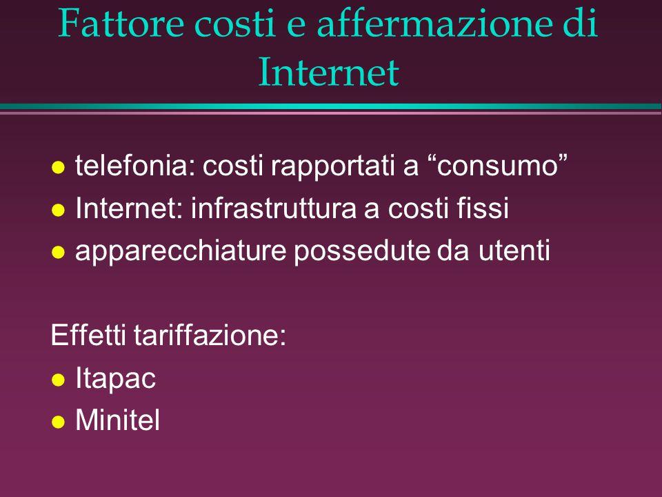 Fattore costi e affermazione di Internet l telefonia: costi rapportati a consumo l Internet: infrastruttura a costi fissi l apparecchiature possedute da utenti Effetti tariffazione: l Itapac l Minitel