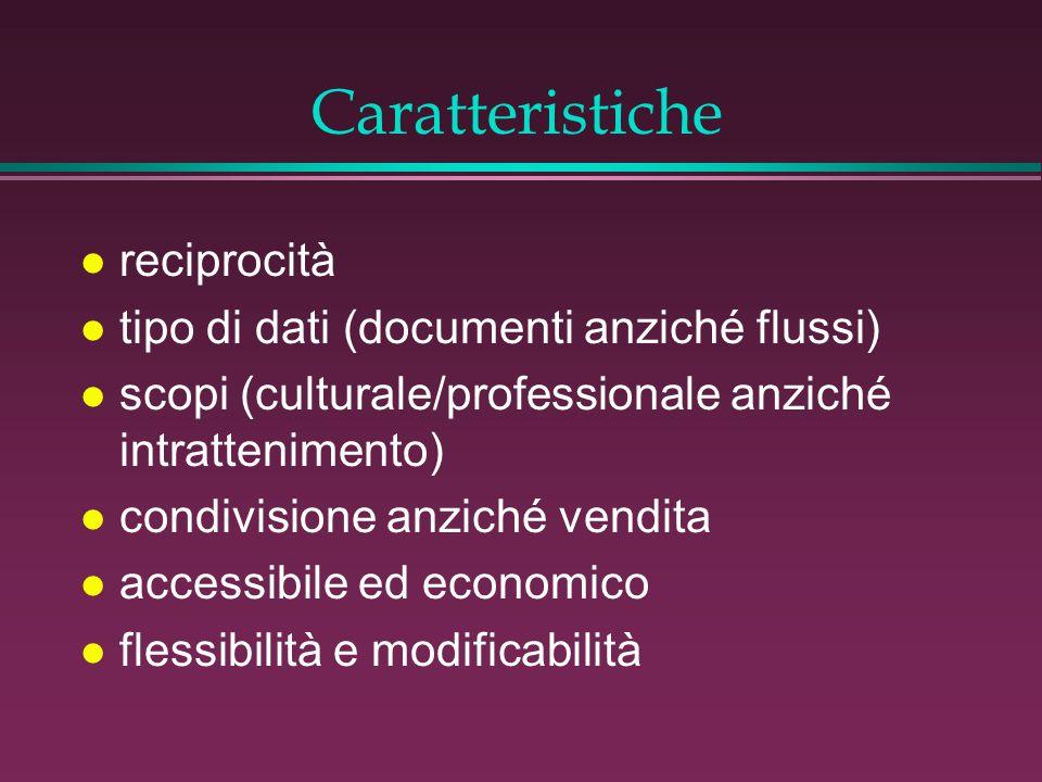 Caratteristiche l reciprocità l tipo di dati (documenti anziché flussi) l scopi (culturale/professionale anziché intrattenimento) l condivisione anziché vendita l accessibile ed economico l flessibilità e modificabilità